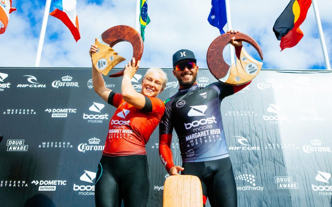 BRAZILIAN DUO TATIANA WESTON-WEBB AND FILIPE TOLEDO WIN BOOST MOBILE MARGARET RIVER PRO PRES. BY CORONA