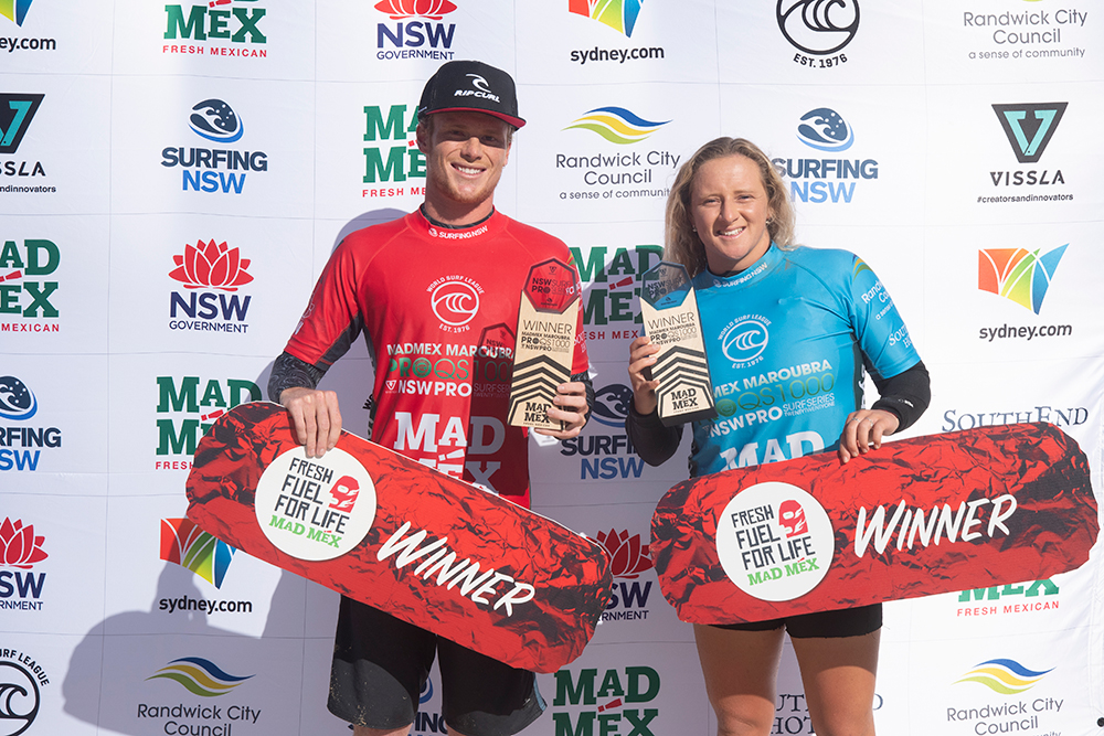 Dylan Moffat and India Robinson take out the Mad Mex Maroubra Pro