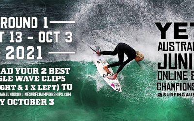 YETI AUSTRALIAN JUNIOR ONLINE SURF CHAMPIONSHIPS ROUND 1 BEGINS TOMORROW, MONDAY SEPTEMBER 13TH!