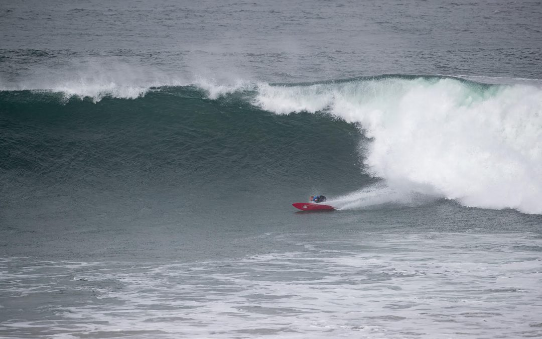 The inaugural 50 Year Storm runs in large waves at Bells Beach
