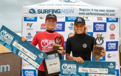 DYLAN MOFFAT AND MOLLY PICKLUM WIN NORTHERN BEACHES OPEN.